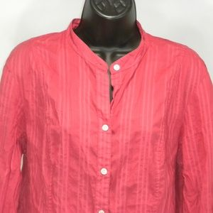 Charter Club Size 16 Striped Button Down Crew Neck